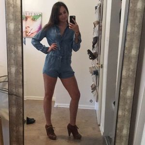 Chambray denim romper